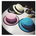夏天韓版小禮帽子潮女英倫草帽 包邊平頂帽加密草編遮陽沙灘帽子