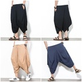 中國風夏季大尺碼男款闊腿褲亞麻寬鬆燈籠褲吊檔短褲
