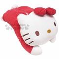 〔小禮堂〕Hello Kitty 絨毛造型面紙套《紅.趴姿》玩偶娃娃.抱枕
