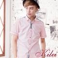 【Kilei】魅力撞色印花短袖襯衫XA1466(印花粉)賠售特價