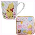 asdfkitty可愛家☆小熊維尼 花園陶瓷馬克杯+小方巾-日本正版商品