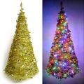 【摩達客】6尺/6呎(180cm) 創意彈簧摺疊聖誕樹 (金色系)+LED100燈串一條 (9光色可選)LED燈串-黃光