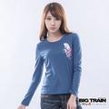 BIG TRAIN-女款 金魚花扇墨達人TEE-灰藍