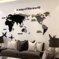 【現貨下殺】3D立體壓克力墻貼 壓克力世界地圖壁貼 復古世界地圖 房間裝飾 家居裝飾佈置 客廳背景墻貼 居家佈置貼畫