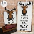 鹿頭壁掛畫 復古工業風小款立體實木板畫仿真馴鹿頭麋鹿角模型造型 美式做舊鄉村風咖啡餐廳服飾店牆面設計壁掛裝飾-米鹿家居