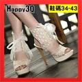 蕾絲高跟鞋大尺碼高跟鞋大尺碼女鞋魚口鞋防水台高跟鞋細跟女鞋性感-黑/米34-43【AAA1861】