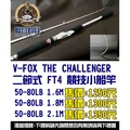 【聯合釣具-竹南店】V-FOX THE CHALLENGER 二節式 FT4 競技小船竿