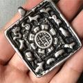 【滿200臺幣出貨】熱賣珍藏西藏寒鐵九宮鐵質天鐵托甲九宮八卦牌吊墜