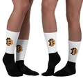 【免運】百搭 男女同款比特虛擬幣Bitcoin撞色中筒 堆堆襪 襪子