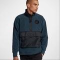 Nike Air Force AF1 深藍 絨毛 半開襟 立領 衝鋒衣 長袖 男 (布魯克林) AJ0802-454