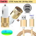Dual USB Car Charger & Type C USB 3.1 Charging Data Cable ZTE Nubia M2 Play, Z17, N1, Axon 7 Mini,