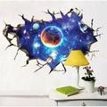新款3D破墻太空星球墻貼 臥室兒童床頭貼天花板裝飾貼 PVC整張貼