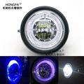 【HONGPA】摩托車LED大燈 天使眼大燈 圓形 頭燈 機車大燈 藍色光圈 天使眼 魚眼大燈總成SB300 SR400