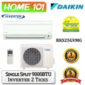 Daikin Single Split Series Single AirCon 9000BTU [System 1] Available in RKS25GVMG with *New Installation Services*