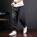 中國風夏季寬鬆燈籠褲棉麻闊腿低襠跨褲薄長褲男