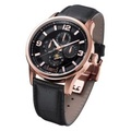 Arbutus Geometric Multi-Functional Men's Black Leather Strap AR614RBB