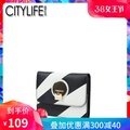 CITYLIFE Citylife Women's Wallet 2018 Spring New Style Black And White Cowhide Short Wallet