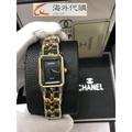 【奢侈館】CHANEL香奈兒PREMIERE首映場經典黑面金鍊黑帶腕錶 奢華時尚手錶 Chanel 鏈條錶 編織帶手錶