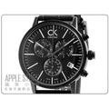 【蘋果小舖】CK post-minimal 凱文克萊夾層時尚計時皮帶錶-IP黑 # K7627401
