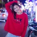 AX ARMANI EXCHANGE 女版大學T 黑膠印字紅色