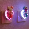 Kitty插電裝飾光感led小夜燈壁燈插座式節能燈床頭燈卡通叮當家用