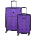 DELSEY Paris Delsey Luggage Sky Max 2 Piece Luggage Set Carry on and Checked Spinner Suitcase, Purpl