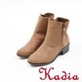 kadia.簡約素面絨布粗跟短靴(7710-35棕)