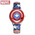 Marvel Avengers Captain America Child Clamshell Leather PU Waterproof Children Quartz Metal Case Wat