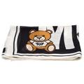 MOSCHINO 經典小熊玩偶圖案造型羊絨混絲披肩/圍巾(米白X黑)