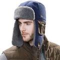 100% Cotton Trapper Hat Aviator Earflap Hat Faux Fur Warm Winter Hat for  Women Men Pilot Soviet Russ e5570250a3b2