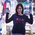 AX ARMANI EXCHANGE 女大學T 紅膠印字深藍色