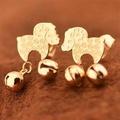 【米蘭精品】玫瑰金耳環耳針式925純銀可愛鈴鐺小羊