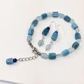 藍磷灰石原礦+海水藍寶手環、耳環套組