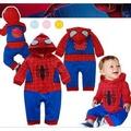 嬰兒連身衣蜘蛛人哈衣純棉卡通造型嬰兒連身衣爬服