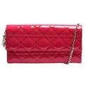 DIOR 經典Lady Dior系列籐格紋漆皮手拿/斜背包(桃紅)