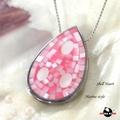 【HEMAKING】純銀天然貝殼水滴型項鍊(粉紅)