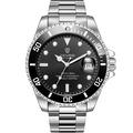 TEVISE 特威斯 T801 時尚潮流經典水鬼系列夜光指針鋼帶錶- 銀黑