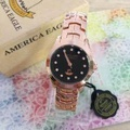 America Eagle นาฬิกาผู้หญิง สายก้างปลา Black Pink