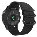 MoKo Band for Garmin Fenix 3 Watch, Fine Woven Nylon Adjustable Replacement Strap with Connecting Rod for Fenix 3/Fenix 3 HR/Fenix 5X/5X Plus/Descent mk1, Double Buckle Ring, Black
