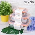 【KOM】日式不鏽鋼保鮮盒-蜜桃橘-3件1組