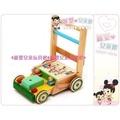 麗嬰兒童玩具館~台灣製.小朋友原木製助步車雞公車-附積木加重輪.防滑學步車