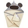 【淘氣寶寶】加拿大 3 Sprouts 連帽浴巾-灰猴子【可當作被毯、包巾或浴巾,一巾三用】【保證公司貨】