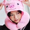 美麗大街【106010811】粉紅豬  黑貓咪 綠青蛙 黃獅子 紅恐龍 綠恐龍 造型連帽U型靠枕 頸枕