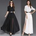💓雪紡大擺連身裙🌟春夏氣質高腰短袖修身顯瘦黑色超長款拖地長裙