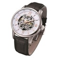 Arbutus Black Tie Skeleton Men's Black Leather Strap Watch AR613TRWB