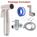 Stainless Steel Handheld Bidet Spray Douche Shattaf Kit + Toilet T-adapter