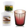YANKEE CANDLE 香氛蠟燭-天使+白茶49gX2+祈禱燭杯