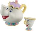 【真愛日本】17072700017 造型陶瓷存錢筒-茶壺媽媽與阿奇杯 迪士尼 美女與野獸 存金桶 貯金箱 擺飾收藏