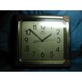 [布列格]早期 老時鐘 ORIENT 東方牌 方形 鍍金邊框 長寬約:35.5x33.5cm 功能正常