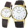 【SEIKO】精工太陽能時尚皮帶對錶-金框銀面 / SUP860P1 SUP370P1